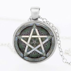 Jewelry - Silver Gray Star Wiccan Glass Cabochon Necklace